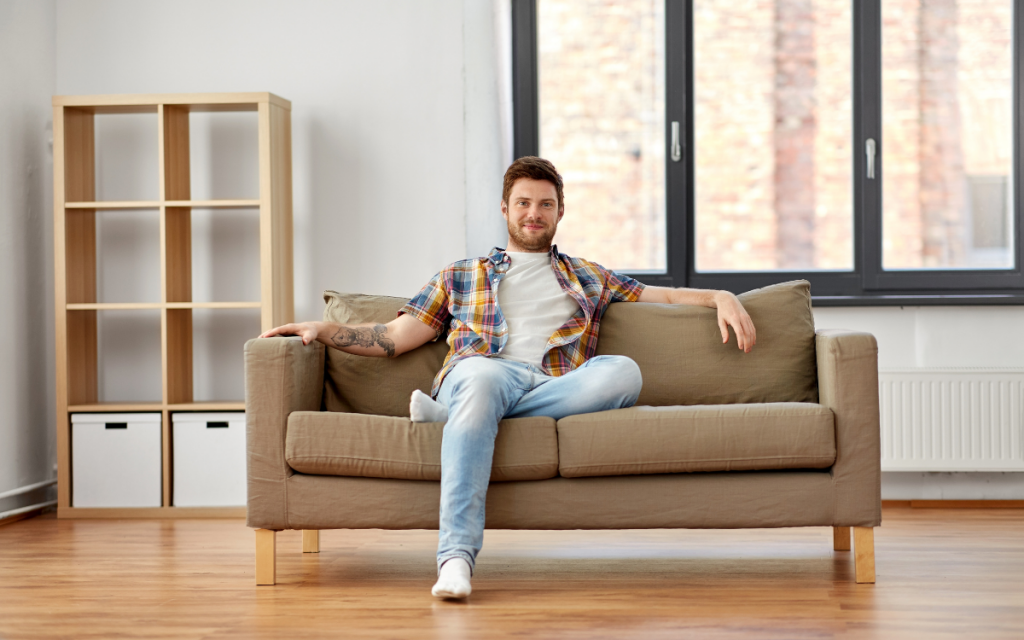 young man on small couch