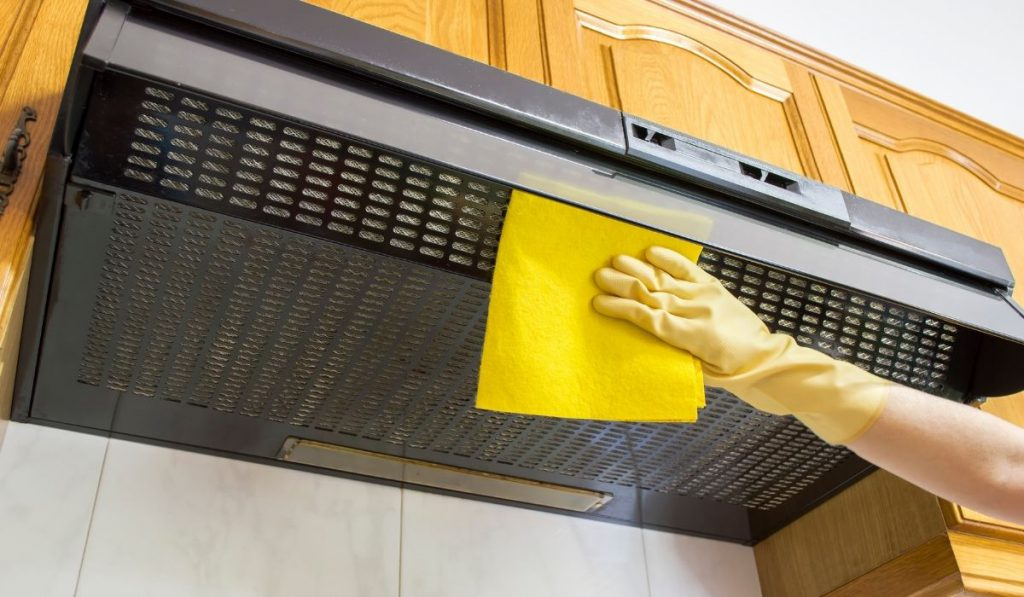 cleaning the oven hood