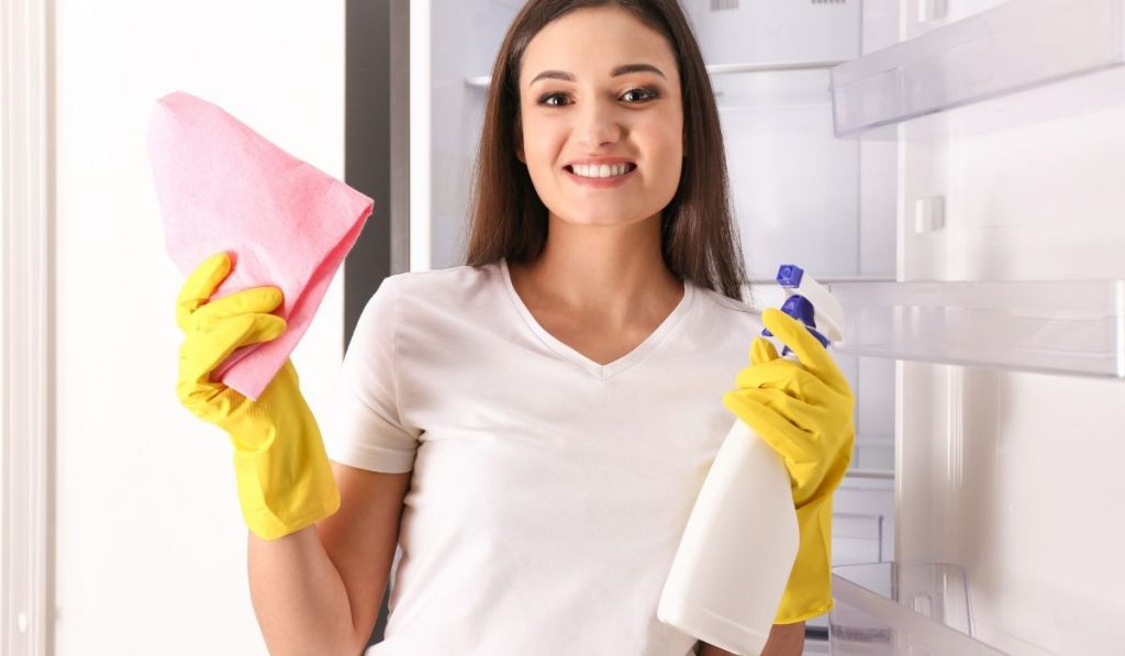 lady holding a kitchen towel and a bottle spray ready to clean the fridge