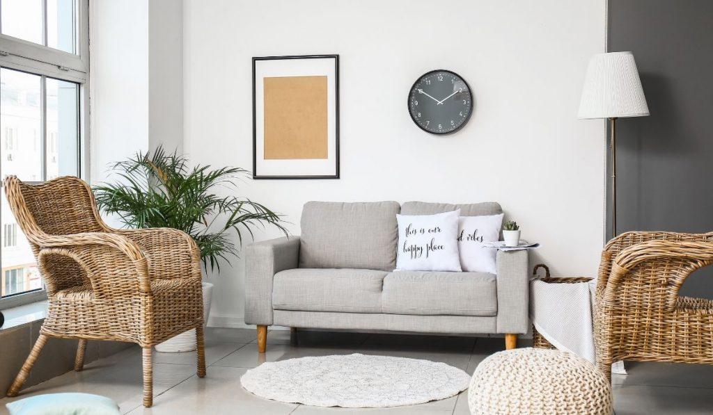 minimalist micro apartment; earthy colors