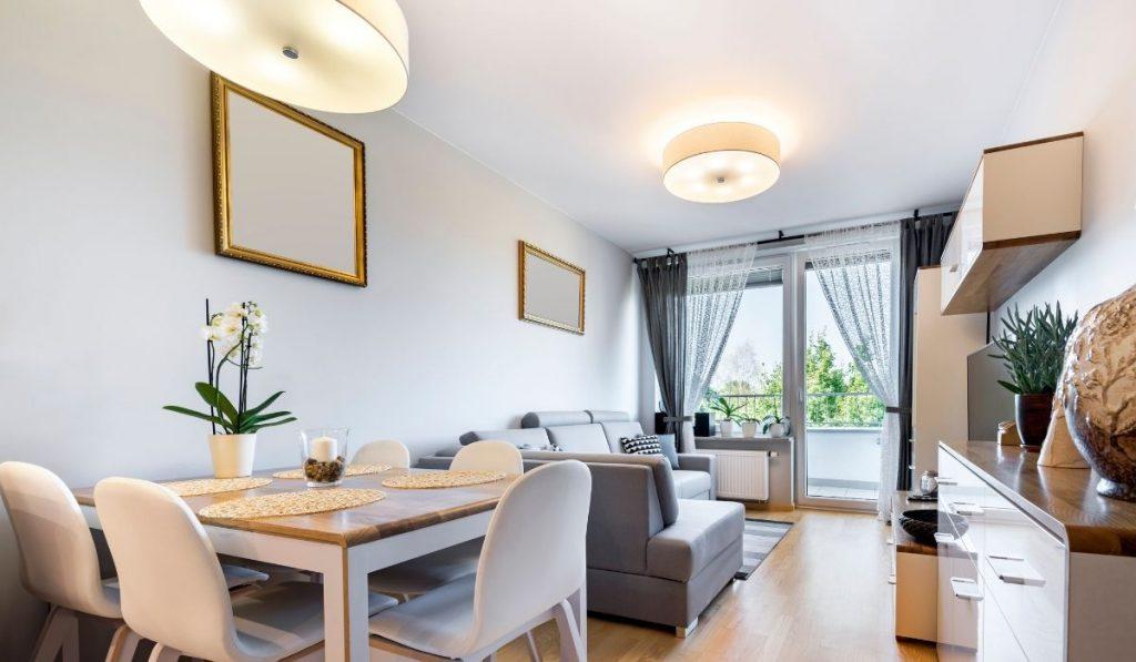 minimalist micro apartment; white and gray colors