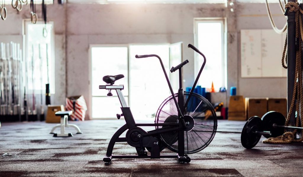 stationary bike stored in an indoor location