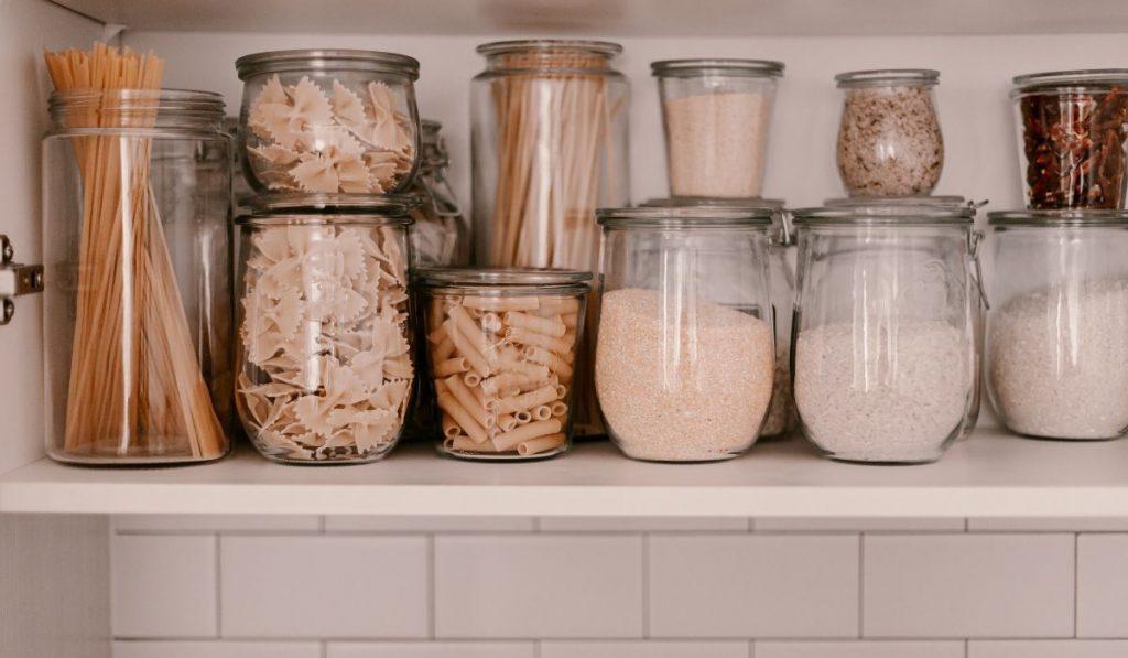glass jars pantry organizer