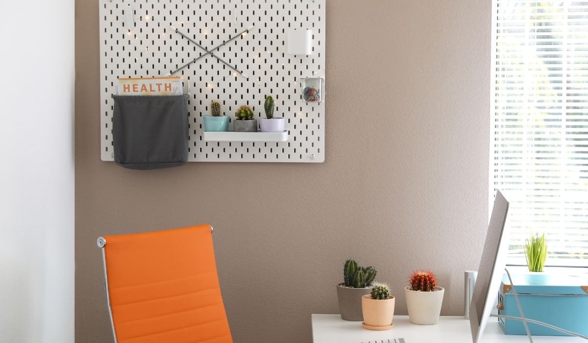 pegboard on wall holding plants and magazines