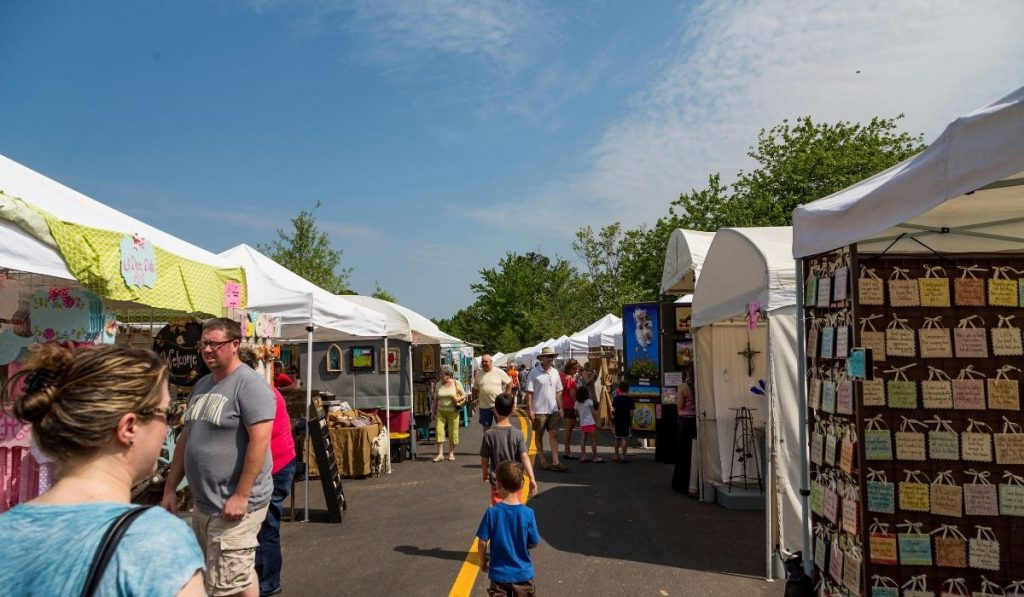 art stands and food stalls at the Festival of the Arts