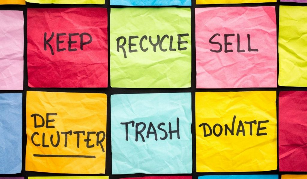 declutter concept writing on colorful sticky notes